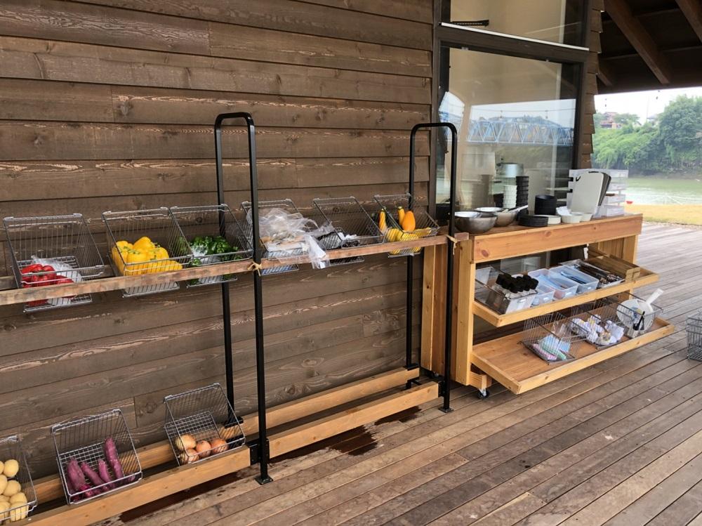 リバーポートパークBBQ 野菜と食器置き場