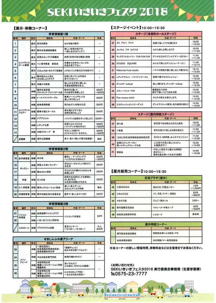 関 いきいきフェスタ2018チラシ裏 イベント情報