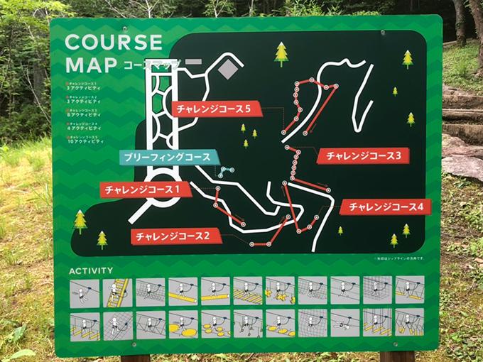 百年公園のツリートップアドベンチャー「冒険の森」のコースマップ
