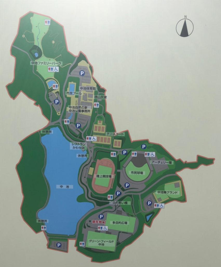 中池公園駐車場案内図 拡大