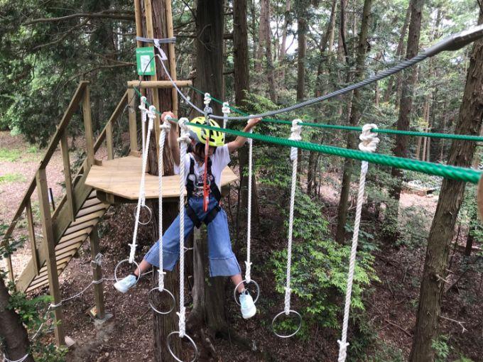 百年公園のツリートップアドベンチャー「冒険の森」難易度が高いアクティビティ
