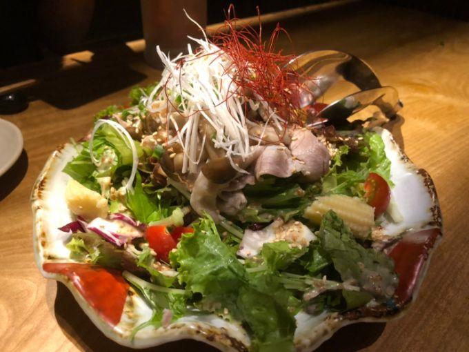 飛騨美濃けんとんのしゃぶしゃぶ胡麻サラダ仕立て(840円)