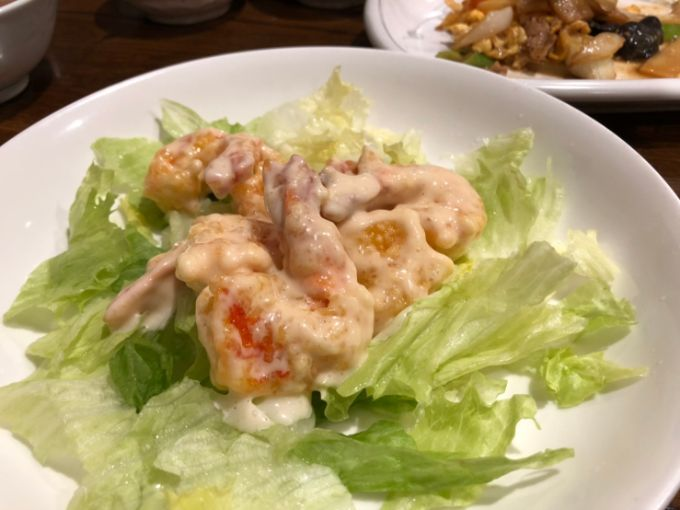餃子飯店パンダのエビマヨ