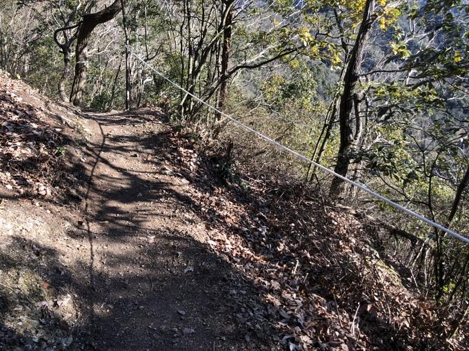 大桑城跡登山道の道中の崖