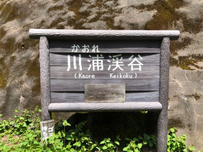 川浦渓谷(かおれけいこく)の看板